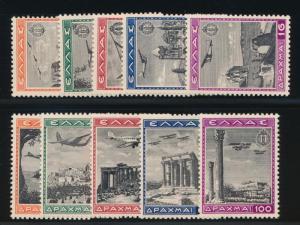Greece C38-C47 Mint NH (MNH) air mail set, airplanes