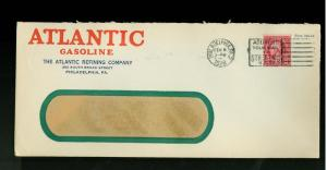 1928 Atlantic Gasoline Advertising USA Cover 2 cents