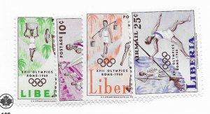 Liberia #390-392, C126 MNH - CAT VALUE $2.10