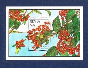 NEVIS - Scott 792 - FVF MNH S/S - Flowers - 1993