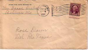 United States, Machine Cancel, Flags, 1922 Fourth Bureaus, Missouri