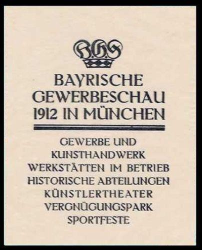Germany 1912 Munich Bavaria Industry Expo Mini Poster