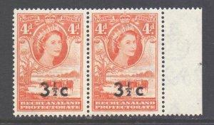 Bechuanaland Scott 173a/b - SG161b, 1961 Wide Surcharge 3.1/2c on 4d Pair MNH**