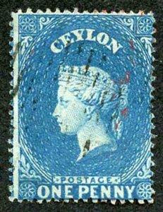 Ceylon SG19a 1d Dull Blue Wmk Star Clean Cut Perf 14 to 15.5 Cat 16 pounds