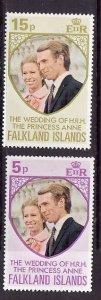 Falkland Islands-Sc#225-6-unused NH set-Royal Wedding-Princess Anne-id4-1973-
