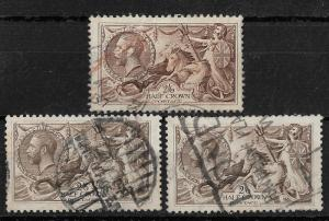 Great Britain Scott # 173 (3) Variety VF Used nice color ! scv$350++ see pic !