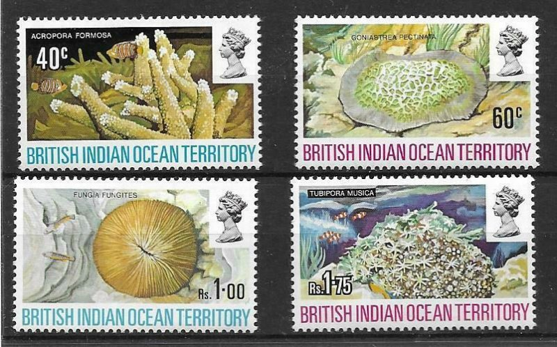 1972    BRITISH INDIAN OCEAN TERRITORY -  SG. 41 / 44 - CORAL -  MNH