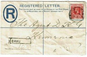 Sierra Leone 1913 Daru cancel on registry envelope to Kennema, registry h/s