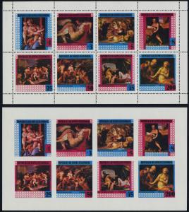 Equatorial Guinea MI 1316-23 sheet perf + imperf MNH Art, Paintings