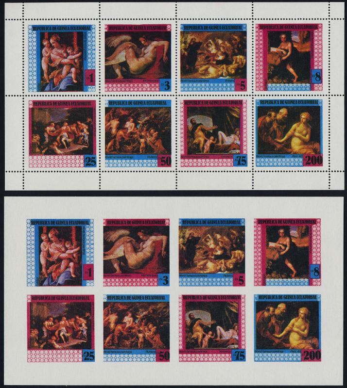 Equatorial Guinea MI1316-23 sheet perf + imperf MNH Art, Paintings