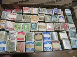 Small Box Lot of Worldwide Postage Stamps in Bundles,145 Bundles Unchecked AS IS