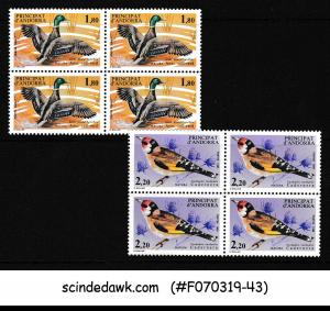 FRENCH ANDORRA - 1985 NATURE PROTECTION BIRDS SG#F368-69 2V BLK OF 4 MNH