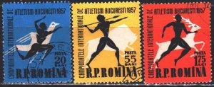 Romania. 1957. 1666-68. Athletics Championships in Bucharest. USED.