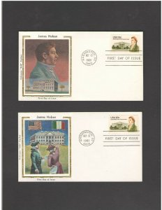 USA: #05 /**JAMES HOBAN-2 DIFFERENT ** / SILK CACHET- FDI- Excellent Condition