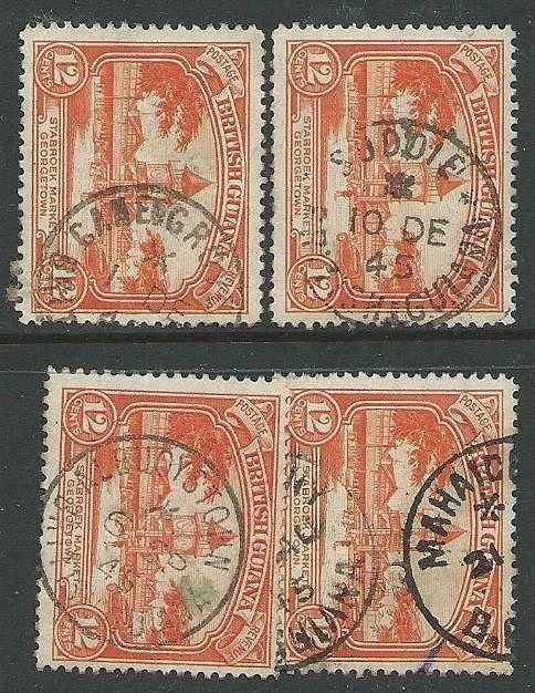 BR GUIANA 1940s pmks of ALBUOYSTOWN, MAHAICA, SUDDIE, CANE GROVE...........43554
