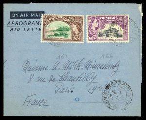 Aerogramme to France 24.Nov.58 CDS Port of Spain with Contents Franked w/3c