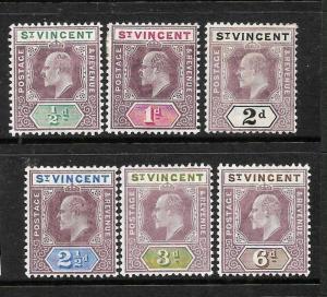 ST VINCENT  1902   KEVII  SET TO  6d   MH     SG 76/81