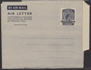 ADEN GVI 50 CENTS on 6a airletter fine unused...............................6597