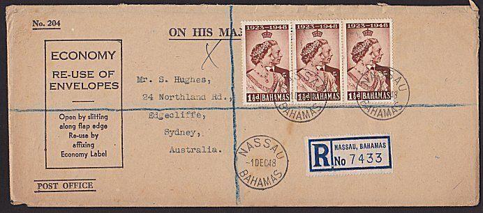 BAHAMAS 1948 Registered cover Nassau to Australia..........................67772