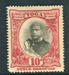 TONGA; 1897 early Pictorial issue Mint hinged 10d. value