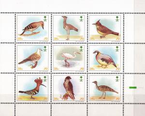 SAUDI ARABIA MINI SHEET BIRDS  BLOCKS OF 9  MINT NH