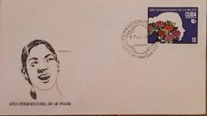 O) 1975 CUBA, CARIBBEAN, INTERNATIONAL WOMEN´S YEAR, FLOWERS, FDC XF