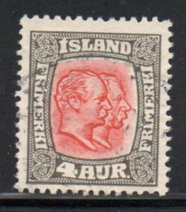 Iceland  Sc  101 1915 4 aur 2 Kings stamp used
