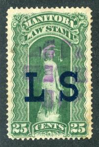 van Dam ML3 - Manitoba Law - 25¢ Used - Blue LS Law Society o/p - Fancy Ca...