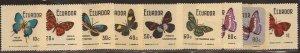 Ecuador - 1970 Butterflies - 9 Stamp Set - Scott #789-94