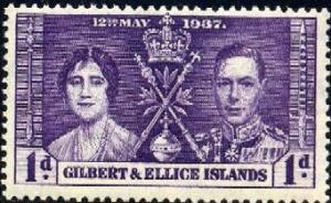 King George VI Coronation Issue 1937, Gilbert & Ellice Islands SC#37 MNH