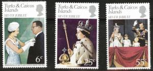 Turks and Caicos Islands Scott 321-323 mnh** Silver Jubilee set