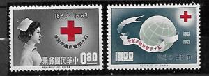 REPUBLIC OF CHINA TAIWAN STAMPS. 1963. RED CROSS, Sc.#1375-1376. MNH