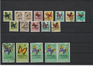 Tanzania Various Butterflies Some Officials Stamps Ref 24929