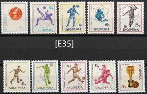 [E35] Albania 1966 Soccer Mi. 1036-45, Gim 1141-50 very fine MNH