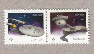 U.S.S. Enterprise = Klingon D7 = STAR TREK 50th = pair from SS Canada 2016 MNH