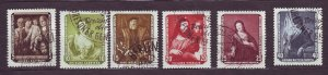 J23287 JLstamps 1957 germany DDR used set #355-60 paintings art