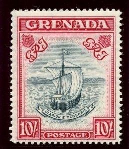 Grenada 1938 KGVI 10s blue-black & bright carmine superb MNH. SG 163f.