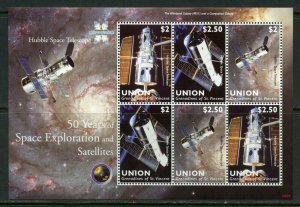 UNION ISLAND  50 YEARS OF SPACE EXPLORATION & SATELLITES HUBBLE   SHEET MINT NH