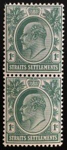 Malaya 1904 Straits Settlements KE VII 1c vertical pair MH MCCA SG#127 M1866