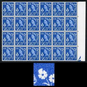 Northern Ireland XN6b 4d Ultra Violet Phos Block 24 with Flower Flaw Retouch