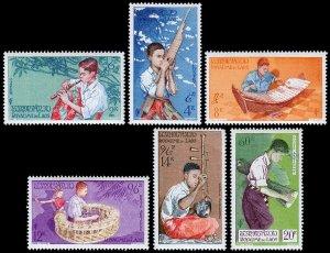 Laos Scott 34-36, C24-C26 (1957) Mint NH VF Complete Set C