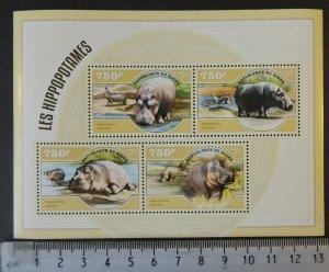 Niger MNH S/S Hippopotamus 2014 4 Stamps