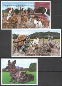 Z0135 ST.VINCENT FAUNA DOGS OF THE WORLD PETS DOMESTIC ANIMALS 2KB+1BL MNH