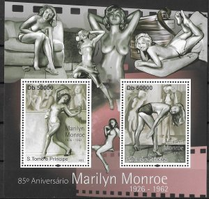 St. Thomas & Prince Islands MNH S/S 85th Anniversary Of Marilyn Monroe 2011