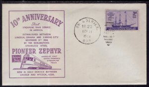 US 1oth Anniversary Pioneer Zephyr Burlington Route Railroad 1944 Cover