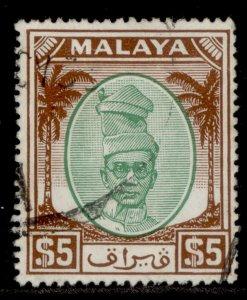 MALAYSIA - Perak GVI SG148, $5 green & brown, FINE USED. Cat £32.