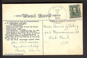 U.S.S. Pennsylvania Hanes Alaska Sep 9, 1908 on postcard
