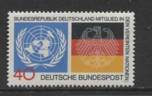 GERMANY. -Scott 1126 - UN & German Flags - 1973- MNH - Single 40pf Stamp