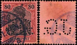 ALLEMAGNE / DEUTSCHLAND - Firmenlochung/Perfin J.G. on 80pf (Reichpost) Mi.62