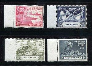 x523 - ASCENSION - 1949 UPU Set - Mint MNH. Left Sheet Margin Stamps